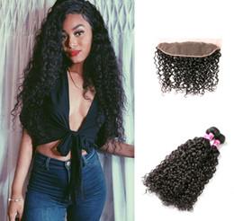 Discount virgin brazilian wavy hair weave - Brazilian Virgin Hair Lace Frontal Closure with Bundles Brazilian Human Hair Weave Bundles Wet and Wavy Water Wave 3 Bun