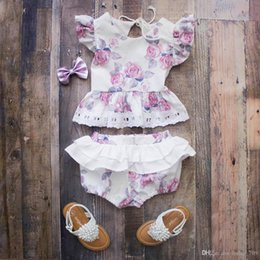 Discount cute girls diapers Ins Baby Girl Toddler Summer 2pieces Outfits Rose Floral Lace Tank Tops Shirt Vest Shorts Bloomer Pants Skirt Diaper Cov