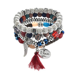 Discount multiple silver bracelets - Hot style vintage ethnic beaded bracelet with multiple tassels and round wings bracelet for women