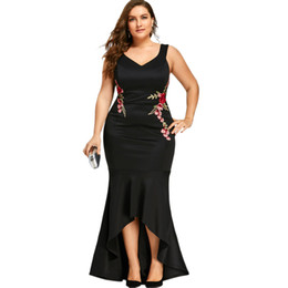 4c9c12de8a Gamiss Embroidery Roses Mermaid Plus Size 5XL Dress Maxi Sexy Black Tank V  Neck Long Elegant Party Female Dress Evening Wear D19011501