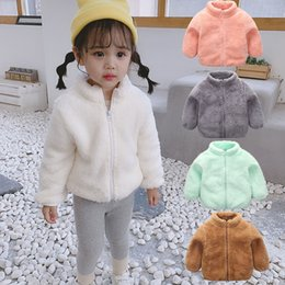 Warm Winter outfits online shopping - 5 Color Kids Plush Jackets Outwear Infants Zipper Cute Fur Coat Baby Spring and Autumn Warm Outfits Children Designer Clothing Girls M462