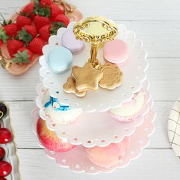 white cake stands wholesale UK - New 3 Tiers Fruit Cake Plate Holder Stand Home Festival Birthday Party Afternoon Tea Tableware Dessert Vegetable Storage Rack