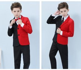 Handsome Kids Suits Australia - Handsome Black and Red Boy's Formal Occasion Tuxedos Kids Wedding Tuxedos Popular Child Party Holiday Blazer Suit (Jacket+Pants+Tie) 123