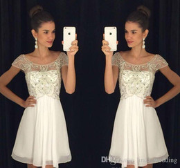 $enCountryForm.capitalKeyWord NZ - 2019 Little White Chiffon Homecoming Dress A Line Cap Sleeves Short Juniors Sweet 15 Graduation Cocktail Party Dress Plus Size Custom Made