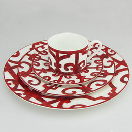 Porcelaine Dîner Plaque Espagnol Rouge Grille Plat Art Conception Plaque Ensembles De Vaisselle Café Tasse Ensemble en Solde