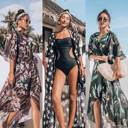 $enCountryForm.capitalKeyWord Australia - Summer Floral Print Women Boho Chiffon Kimono Dresses Cardigan Long Beach Cover Up Half Sleeve Loose Sexy Flower Dress Cover-Ups