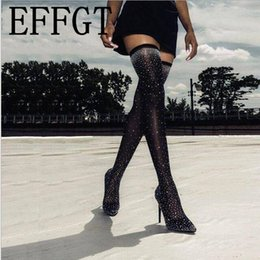 super thigh high boots 2019 - EFFGT 2019 Fashion Crystal Stretch Sock Thigh High long Boots Over-the-Knee Heel Pointed Toe super high heel Woman Boots