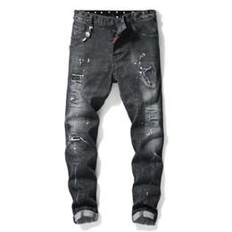 $enCountryForm.capitalKeyWord NZ - European American Style famous brand Men's slim jeans patchwork straight zipper jeans pants black punk style brand Robin jeans for men