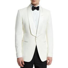 $enCountryForm.capitalKeyWord NZ - New High Quality Side Vent One Button Ivory Wedding Groom Tuxedos Shawl Lapel Groomsmen Mens Dinner Blazer Suits (Jacket+Pants+Tie) 318