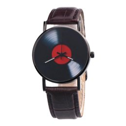 Watches for business online shopping - Fashion trend mens Disc design classic leather watch men students casual business quartz wrist watches for men