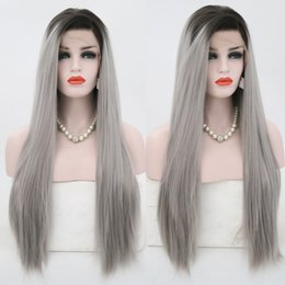 $enCountryForm.capitalKeyWord Australia - Hot Selling High Temperature Two Tones Long Straight Hair Ombre Grey Wig Natural Hairline Glueless Synthetic Lace Front Wig for Black Women