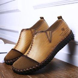 1fad0e85d1f Costura a mano Para Hombre Zapatos planos de cuero Negro Marrón Caqui Piel  de vaca superior Suela de goma Mocasines para conducir Mocasines