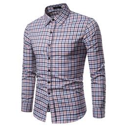 3a885f69a Brand 2019 Fashion Male Shirt Long-sleeves Tops Orange Squares Mens Dress  Shirts Slim Men Shirt S-xxl