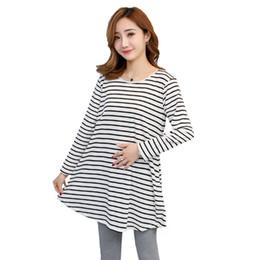 $enCountryForm.capitalKeyWord Australia - 2019 Autumn New Bowtie Long Loose Maternity Dress Plus Size Block Color Striped Patchwork Pregnant Women Cotton Dress