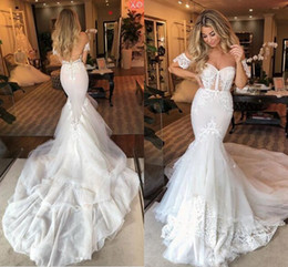 illusion back cathedral train wedding dress 2020 - Cathedral Train Mermaid Wedding Dresses with Sleeves 2020 Sweetheart Lace Applique Berta Garden Country Winter Bride Wed