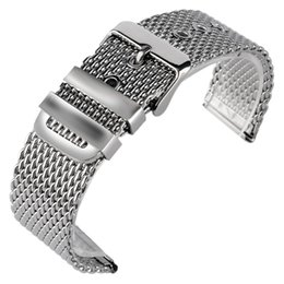 bracelet pin clasp silver NZ - racelet watchbands 20 22mm 24mm Fashion Stainless Steel Mesh Watchband Bracelet Silver Wrist Band Strap Solid Link Pin Buckle + 2 Spring ...