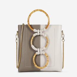 703920c784 Circular Wooden Handle Bucket High Quality PU Collision Patchwork Leather Fashion  Women 2019 New Handbag For Summer Handbag