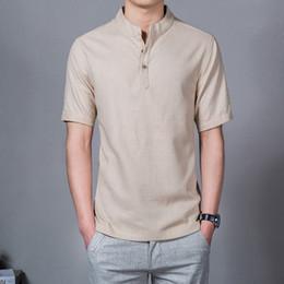Linen Slim Shirts Australia - 2019 Summer New Men Shirt Fashion Chinese Style Linen Slim Fit Casual Short Sleeves Shirt Camisa Social Business Dress Shirts