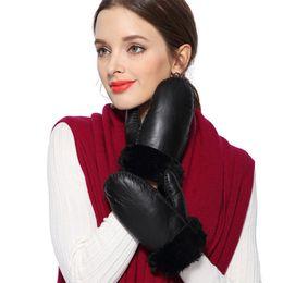 $enCountryForm.capitalKeyWord Australia - Women Gloves Winter Wool Genuine Leather Gloves Ladies Fur Mittens Thicken Warm Cute Sheepskin Fur Outdoor Guantes Mujer