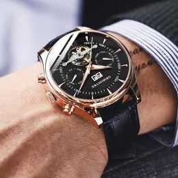 $enCountryForm.capitalKeyWord NZ - Skeleton Tourbillon Mechanical Watch Men Automatic Classic Rose Gold Leather Mechanical Wrist Watches Reloj Hombre 2018 Luxury Y19061905