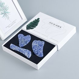 $enCountryForm.capitalKeyWord Australia - New Style Heart Shape Blue Spot Face Slimming Gua Sha Set 100% Natural Guasha Massage Tools with Box