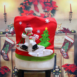 christmas santa chair Canada - New Arrive Skidding Santa Claus Christmas Backrest Chair Cover Set Xmas Party Decor Chairs Dinner Party Skiing Style