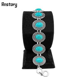 $enCountryForm.capitalKeyWord Australia - Wholesale- Vintage Look Tibet Alloy Plant Circle Turquoise Cuff Bracelet Bangle Antique Silver Plated Fashioin Jewelry TB275