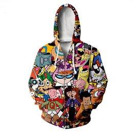 Wholesale men s zip up hoodies for sale – custom New Fashion Zipper Hoodies Cartoon Totally s D Print Zip Up Hoodies Sweatshirt Men Women Harajuku Outfits Tops R052