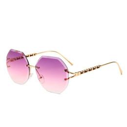9e501a9a091 Newest Rimless Hexagon sunglasses women Rhinestone Decoration cut luxury  designer rope style hipster sun glasses
