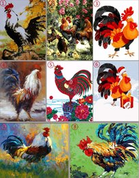 Chinese Landscape Oil Paint NZ - 16x20 inches Vintage DIY Chinese Art Farm Color Roosters Foraging in Flowers Paint by numbers Kit Art Oil Photo painting on Canvas