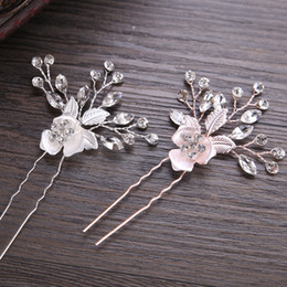 Hair Clips Bridal Australia - ashion Jewelry New Trendy Rose Gold Silver Hairpin Stick Bridal Hair Clips For Women Crystal Flower Wedding Hair Accessories Rhinestone...