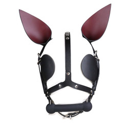$enCountryForm.capitalKeyWord Australia - Genuine Cow Leather Fetish Bondage Head Gear Harness Mask Bone Gag Adult SM Restraint Dog Slave Roleplay Hood Night Club Game Sex Toys