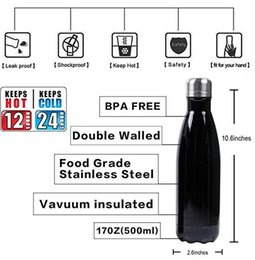 $enCountryForm.capitalKeyWord Australia - Double Wall Vacuum Insulated Stainless Steel Water Bottle Cola Shape Thermos 17oz Reusable Leak Proof Sports Water Bottle Keep Hot 12 Hours