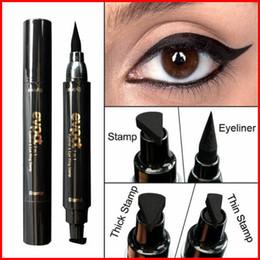 $enCountryForm.capitalKeyWord NZ - Charming Cat Eye Winged Eyeliner Sexy Eye Cosmetic Seal Stamp Wing Double Head Waterproof Eyeliner Pen Tool bea435