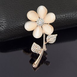 $enCountryForm.capitalKeyWord Australia - Fantastic Rose Gold Plated Alloy Elegant Stunning Crystals Opal Stone Flower Brooch For Women Wedding High Quality Ladt Costume Jewelry Pin