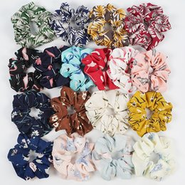 Discount hair accesorios - Women Floral Flamingo Chiffon Hairband Girl Ponytail Hair Holder Rope Floral Printed Hair Band Tie Accesorios RRA854