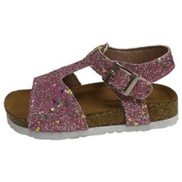 Glitter Shoes For Girls Australia - Kids Sandals high quality Clogs Glitter Sandals for Girls Shinny Stylish Shoes for Toddlers Corks Kids Footwear Sandales 2 colors