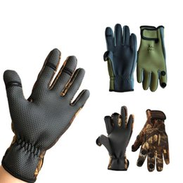 Army green sports gloves online shopping - Anti Slip Fishing Gloves Sport Leather Half Finger Breathable Gloves Hunting Camping Cycling Outdoor Sport Fishing Equipment RRA163