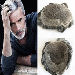 $enCountryForm.capitalKeyWord Australia - Grey Hair Men Toupee French Lace Front With Pu Back Toupee For Men Hairpieces Replacement Systems Light Wave Human Hair Lace Men Wig