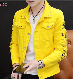 Wholesale jacket patches resale online - Spring Men Denim Jacket male Korean version hole denim trend rivet jacket COAT JEAN Outerwear TOPS