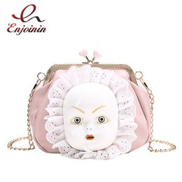 doll masks Canada - Vintage Cartoon Mask Doll Pu Leather Fashion Shell Shape Female Chain Purse Shoulder Bag Handbag Women's Crossbody Messenger Bag #263900