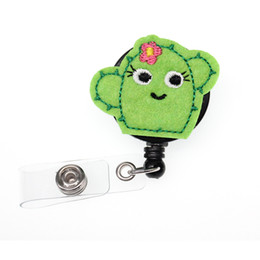 rhinestone badge reels UK - 10pcs a lot new Funny Cute Green Cactus Retractable Badge Reel Nurse Doctor Id Badge Holder