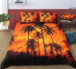 orange bedding sets double Australia - Dusk Beach Warm Color Bedding Set King Size Romantic 3D Duvet Cover Lifelike Queen Home Textile Double Single Bed Set With Pillowcase 3pcs