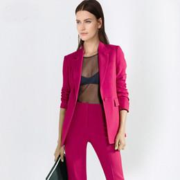 Ladies Work Uniforms Australia - 2019 Sexy Work Pant Suits OL 2 Piece Set for Women Business Interview Suit Set Uniform Blazer and Pencil Pant Office Lady Suit