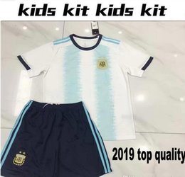 kid argentina messi jersey NZ - 2018 MESSI World Cup Argentina KIDS Kit AGUERO Soccer Jersey ICARDI DI MARIA KOMPANY DYBALA Higuain Home away jerseys uniforms shirts