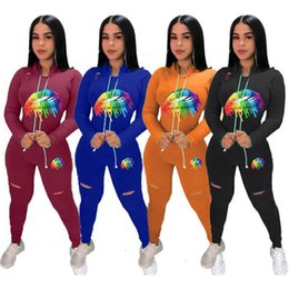 lips orange Australia - women two piece jogging suits lip print sweatsuit ripped 2 piece set long sleeve t shirt leggings designer fall winter clothing 2211