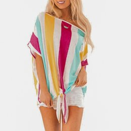 $enCountryForm.capitalKeyWord NZ - Mix Striped Print Rolled Up Tshirt Casual Loose Scoop Neck Colorblock T Shirt Women Summer Short Sleeve Tops