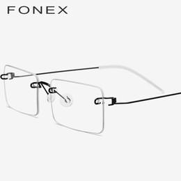 bc948afa0fa FONEX Screwless Eyewear Prescription Eyeglasses Women 2019 Rimless Square  Myopia Optical Korean Titanium Alloy Glasses Frame Men