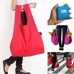 Discount foldable environmental bags - 500PCS  LOT Shopping Bag Foldable Green Environmental Storage Bag Reusable Tote Pouch polyester Pure Color Handbags