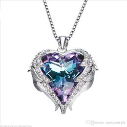$enCountryForm.capitalKeyWord Australia - Wings Heart Crystal Necklace Angel Wings Pendant Birthstone Heart Necklace Jewelry for Women Original Crystal Ocean Heart Necklace